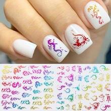 Наклейка для дизайна ногтей с блестками дракона Феникса цветная