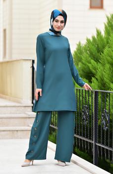Sefamerve Minahill sznurowane spodnie tunika podwójny garnitur 10112-05 Emerald Green 10112-05 tanie i dobre opinie Dla dorosłych Other