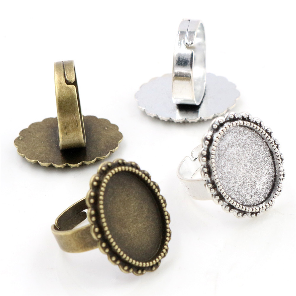 Fit 13x18mm 5pcs Bronze And Antique Silver Plated Colors Oval Adjustable Ring Settings Blank/Base,Fit 13x18mm Glass Cabochons