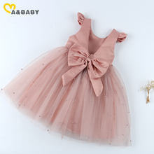 Ma & bebê 1-7y verão princesa criança criança criança criança meninas tutu vestido festa de casamento vestidos de aniversário para menina pérola arco trajes