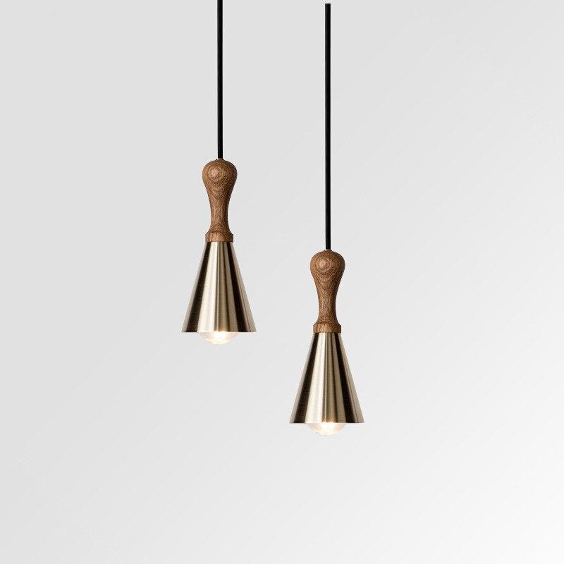 Nördlichen Europäischen restaurant kronleuchter moderne einfache bar kleine kronleuchter kupfer einzigen kopf persönlichkeit schlafzimmer lampe-in Pendelleuchten aus Licht & Beleuchtung bei title=