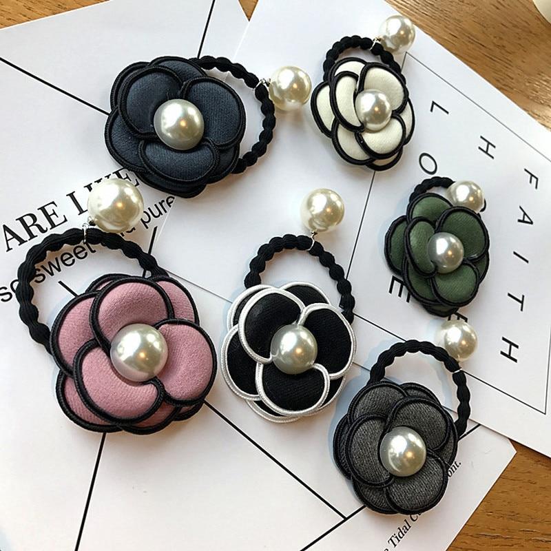Korean Simple Camellia Flowers Cloth Art Imitation Pearl Elastic Hair Bands Girl Women Fashion Headdress Hair Accessories(China)