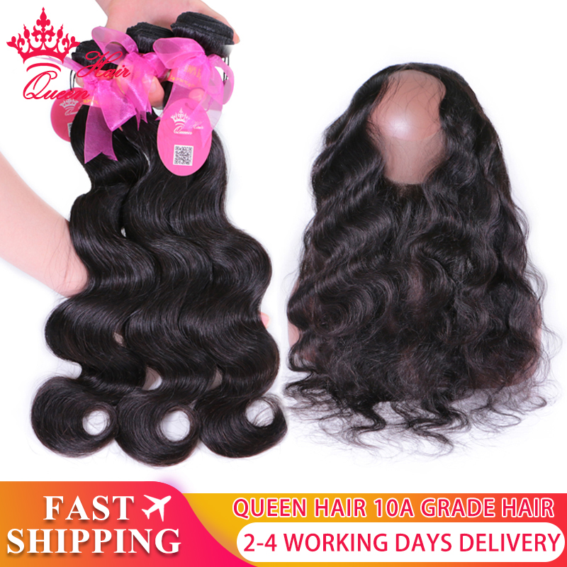 Queen Hair Pre Plucked 360 Frontal With Bundles Body Wave Brazilian Virgin Human Hair 2/3 Bundles With 360 Frontal Closure