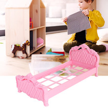 2019 New Mini Princess Bed Beautiful Plastic Bed Bedroom Furniture For Dolls Dollhouse for Dolls Dollhouse Doll Accessories(China)