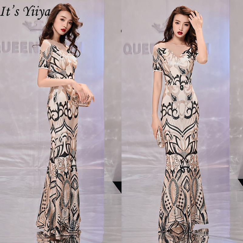 It's YiiYa Evening Dress 2019 Sequins Contrast Color Trumpet Dresses Fashion O-Neck Short Sleeve Patchwork Robe De Soiree TR011