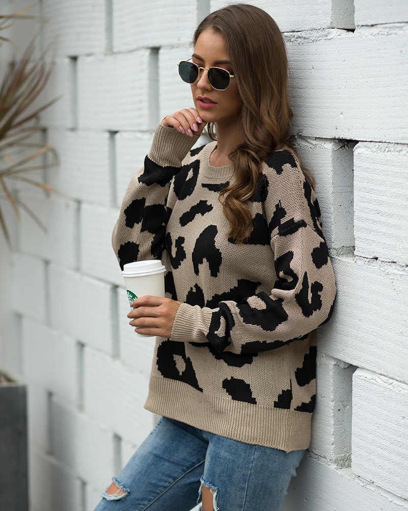 Jersey casual de manga larga con cuello redondo y estampado de leopardo para mujer