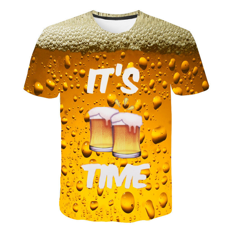 T-Shirt 3D Tees Tops Short-Sleeve Beer-Time Funny Novelty Water-Pattern Summer Men O-Neck