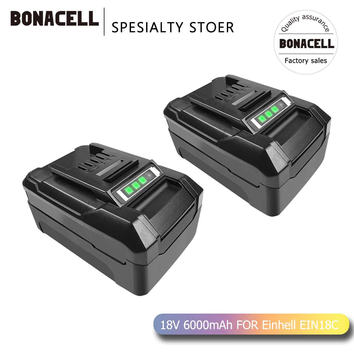 Bonacell Replacement Battery <font><b>6000mAh</b></font> 18V <font><b>18650</b></font> For Einhell Composition EIN18C PXBP-300 PXBP-600 PX-BAT5 Power Tools Battery L70 image