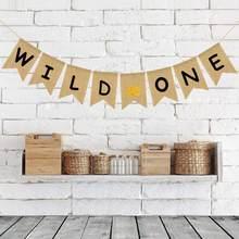 1 zestaw nowe piękne brokatowe złote korony juta juta dzikie jeden Banner wykaszarki dekoracja urodzinowa dla dzieci Baby Shower