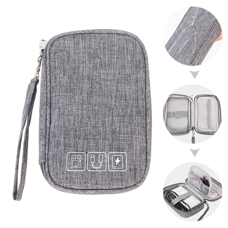 Multi-function Data Cable Charger Organizer Bag Charging Treasure Headphone Electronic Double Layer Finishing Accessories Bags
