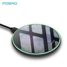 FDGAO 10W Qi Wireless Charger For iPhone X Xs Max XR 8 plus Fast Wireless Phone Charger Pad For Samsung S10 S9 S8 Xiaomi Mi 9 все цены