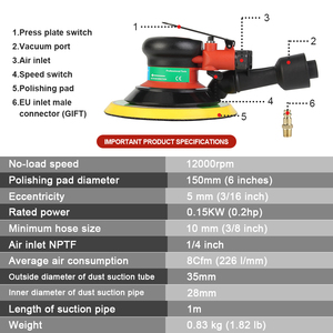 "Image 5 - FivePears máquina de lijado neumático, 150MM, 6 "", excéntrica, 5MM, Orbital aleatoria, lijadora de aire, herramientas neumáticas"