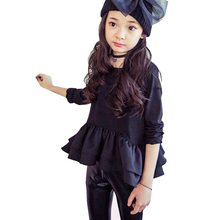 baby girls blouses kids spring cotton long sleeve black apricot shirts children casual tops patchwork ruffle blouse for 2-12 Yrs ruffle sleeve blouse