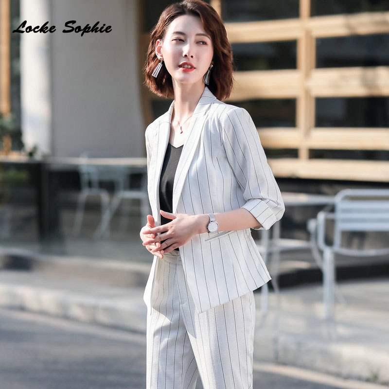 1pcs Women's Plus Size Blazers Coats 2020 Spring Cotton Blend Stripe Slim Fit Small Suits Jackets Ladies Skinny Blazers Suits
