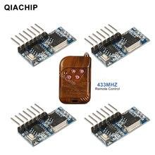 Qiachip RF 433 Mhz Tiếp Module Thu Không Dây 4 CH Đầu Ra Với Học Tập Nút Và RF 433 Mhz Điều Khiển Từ Xa bộ Phát DIY