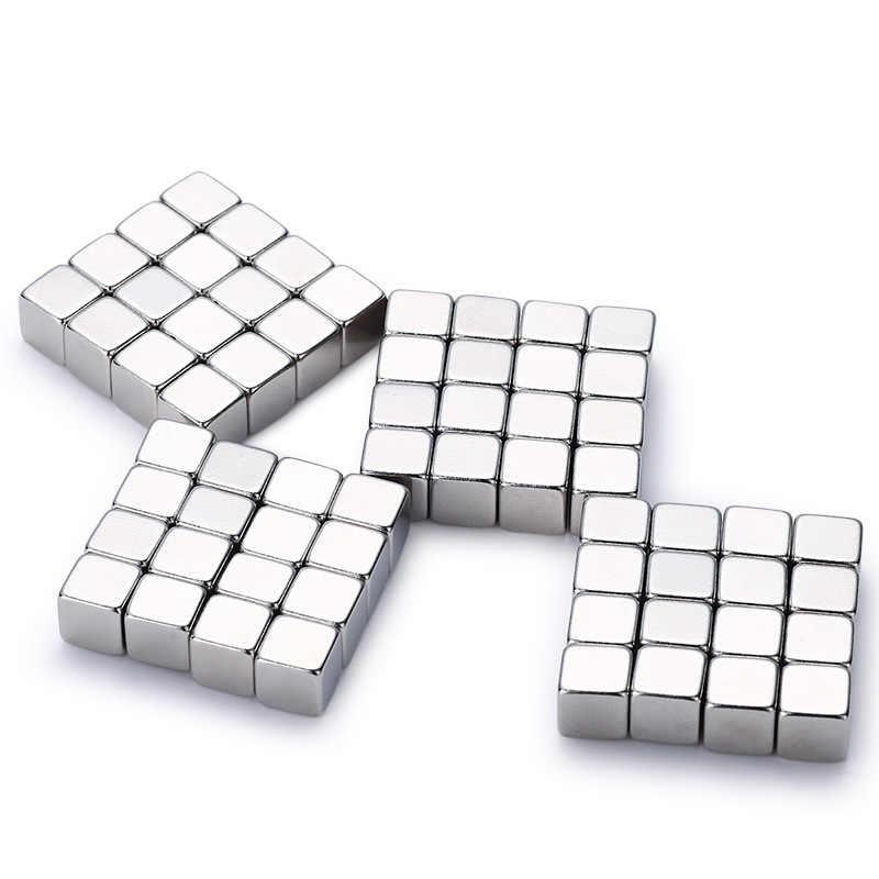 Ímãs poderosos 5*5*5*5mm do neodímio dos pces 10/20/50/100 do cubo cuboid forte super duplo niquelado ímãs da terra rara