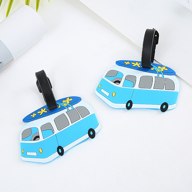 Cartoon Bus Travel Accessories Creative Luggage Tag Silica Gel Suitcase ID Address Holder Baggage Boarding Tags Portable Label