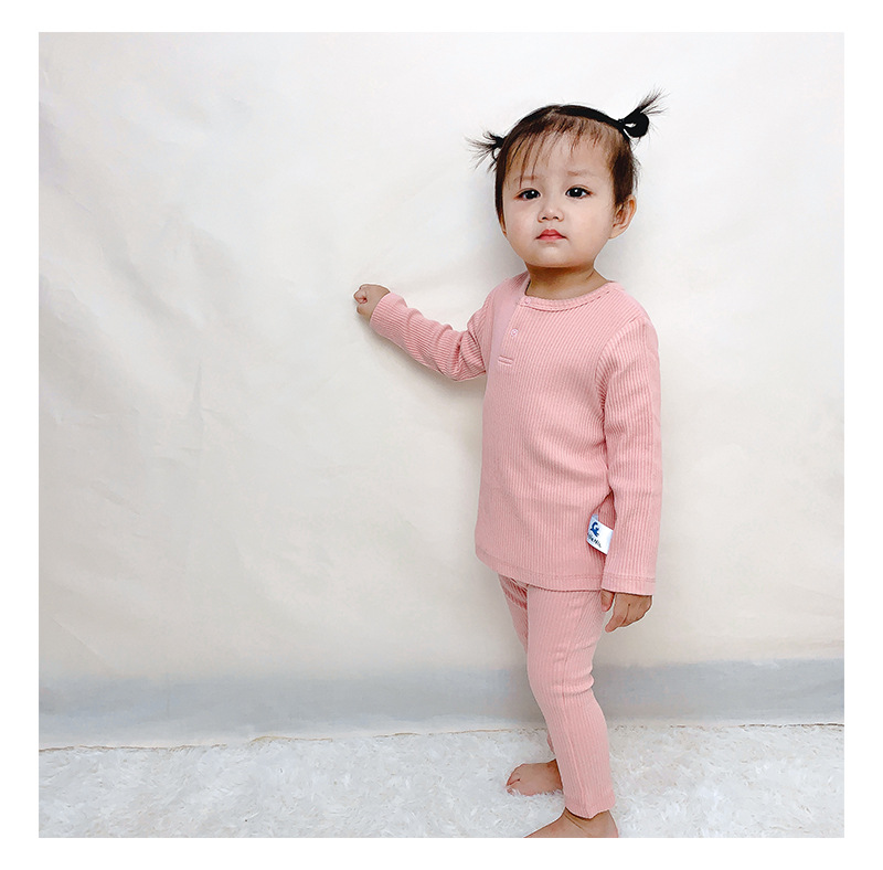 Soft Ribbed Toddler Girl Pajamas For Baby Boys Clothes Set Autumn Winter Children Outfits Long Sleeve Tops Pants 2 Pcs Kids Suit (13)