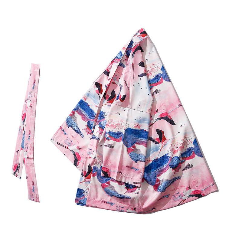 Uomini di Stile Giapponese gru bianca stampato Mezza manica Cardigan Kimono Accappatoio Giubbotti Streetwear Hip Hop Harajuku Casual Tuta Sportiva