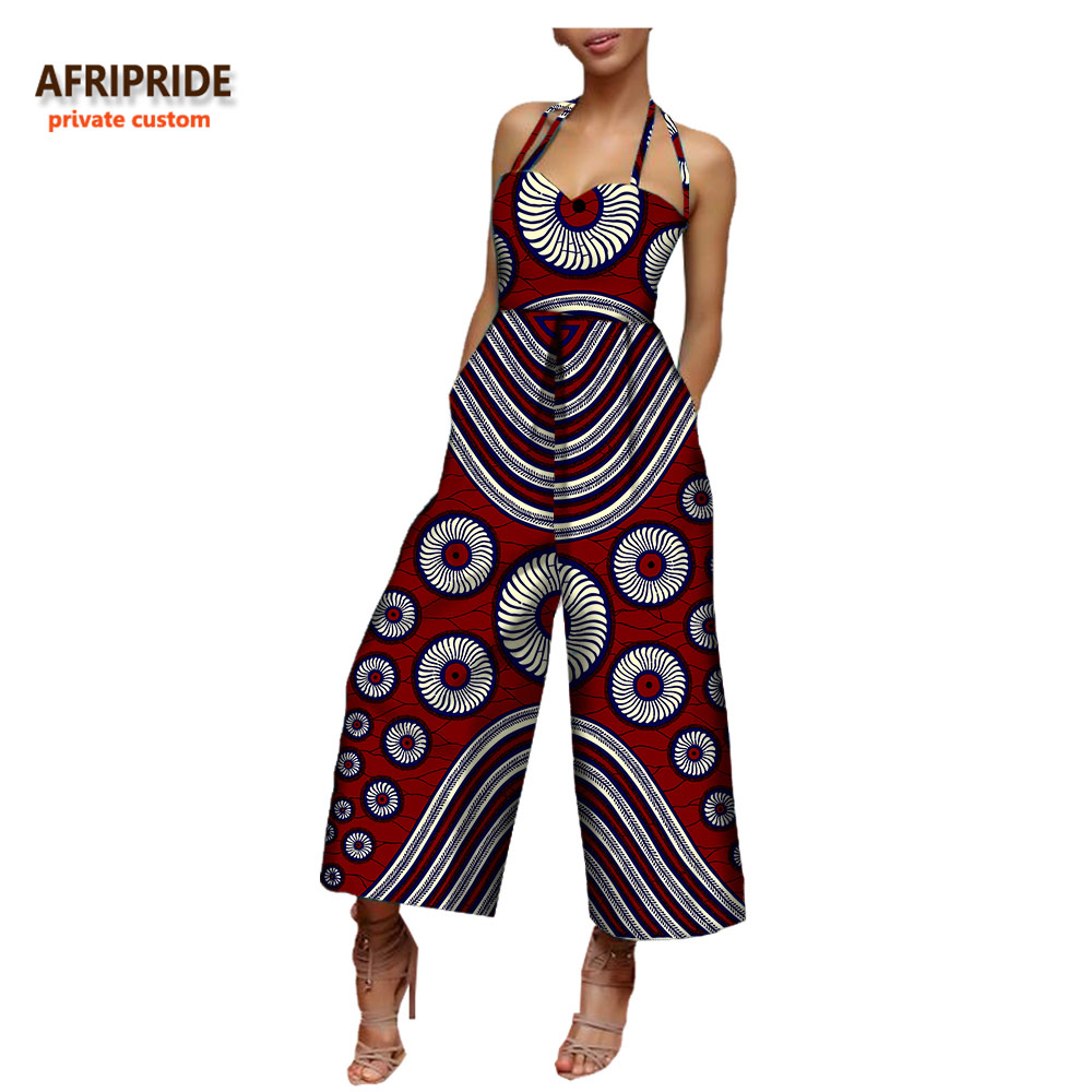 2018 African Clothing Women Jumpsuit AFRIPRIDE Sleeveless Halter Ankle-length Wide Leg Casual Cotton Jumpsuit For Women A722908