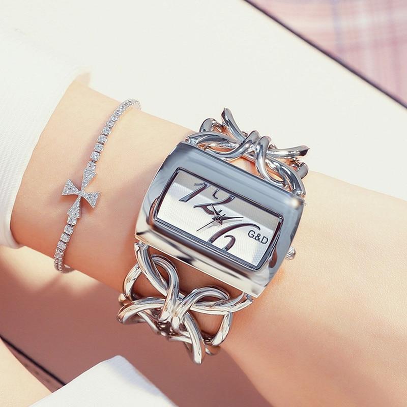 G&D Silver Women's Watches Luxury Brand Bracelet Watch Ladies Fashion Rectangle Women Quartz Wristwatch Clock Relogio Feminino