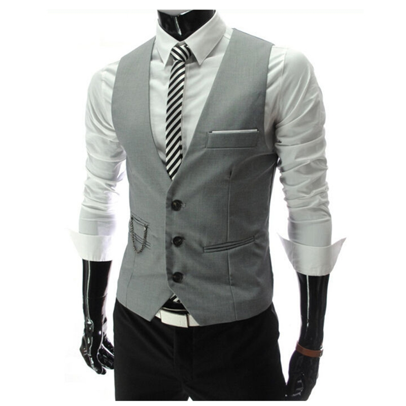 Men's Formal Vest for Men Slim Fit Mens Suit Vests Male Waistcoat Gilet Dress Casual Sleeveless Business gray Jacket Waistcoat