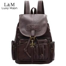 2020 w stylu Vintage kobiety plecak dla nastoletnich dziewcząt plecaki szkolne torby mody Retro skóra czarny sznurek duża BagPack XA150H