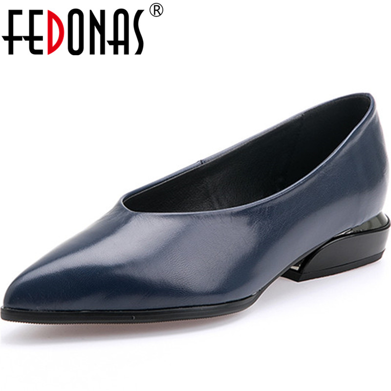 FEDONAS New Sheepskin Leather Spring Summer Office Lady Women Pumps Elegant Shoes Pointed Toe Thick Heels Shallow Shoes Woman