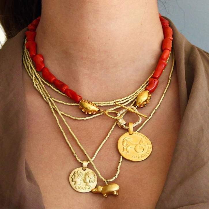 Punk Chunky Collares Statement natural red coral bead women pendant necklace bohemian fashion jewelry 2021 Collar creative gifts