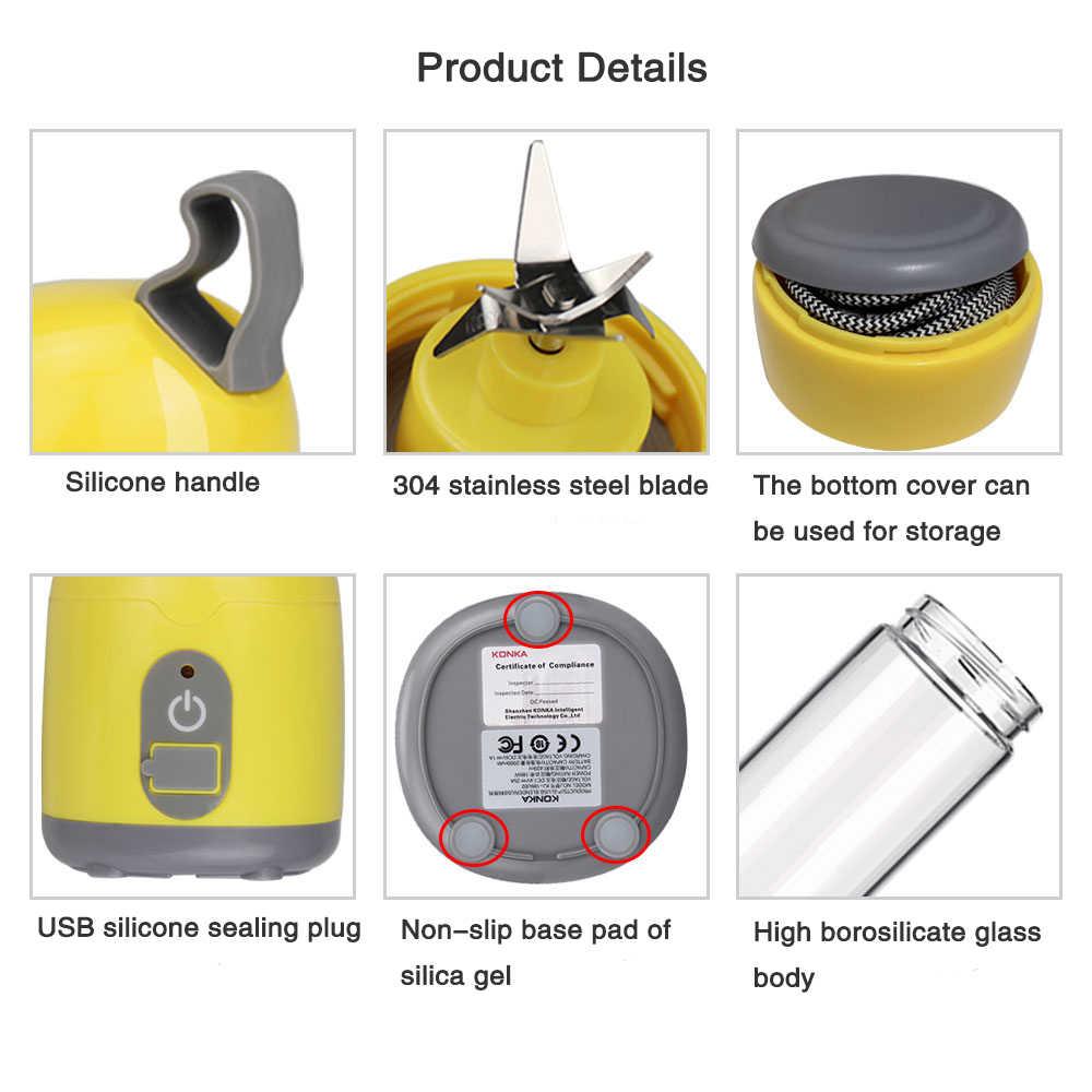 KONKA Espremedor Portátil Elétrico Recarregável USB Liquidificadores Smoothie Blender Misturador Máquina De Suco De Mini Fabricante de Copo fast food processor
