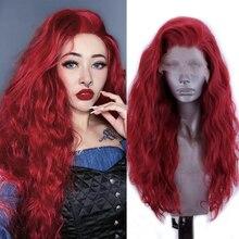 Charyzma długie faliste styl czerwona peruka syntetyczna koronka peruka Front włosy z włókna wysokowytrzymałego przedziałek z boku peruki dla kobiet