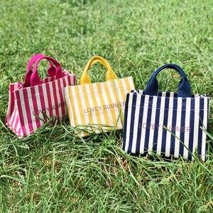 Image 3 - Multiple Pocket Stripe Tote Handbag Casual Canvas Soft Crossbody Bags For Women Fashion Korean Portable Shoulder Bag