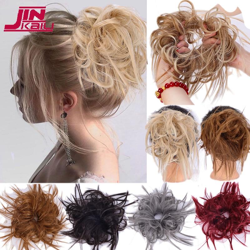 JINKAILI синтетические гибкие пучки волос, вьющиеся шиньон, эластичные нечистоплотные шиньоны для конского хвоста для женщин