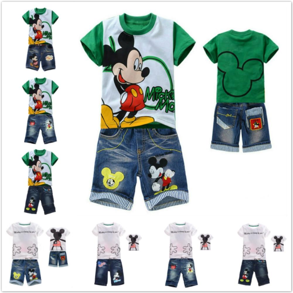 2Pcs Baby Boys Summer Cotton Mickey  Cotton Short Sleeve T-shirt+Shorts Clothing
