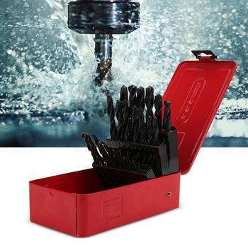 цена на 25pcs HSS Drill Bit Kit High-Speed Steel Straight Shank Twisted Drill Bits 1-13mm Woodworking Drilling Bits