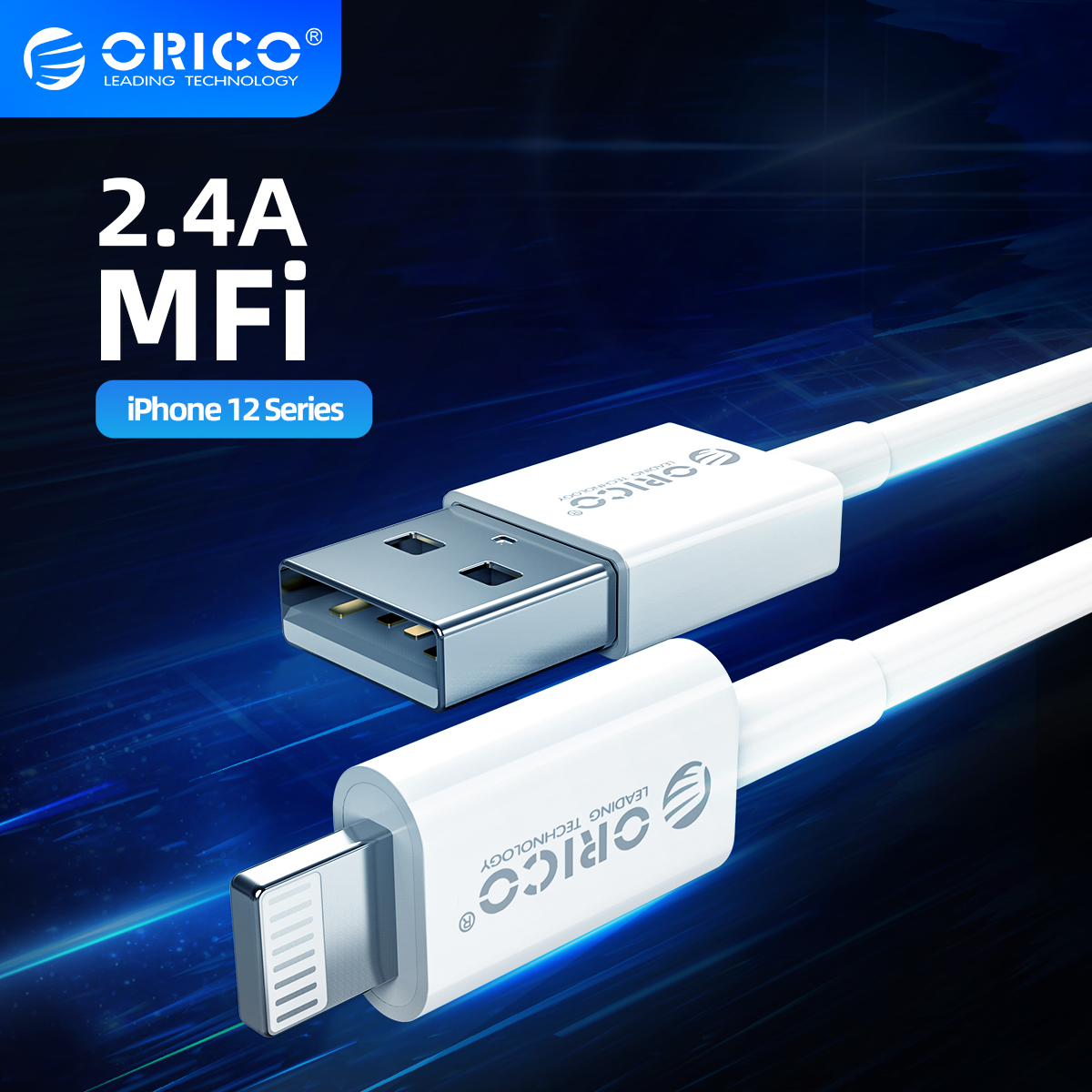 ORICO MFi USB Cable for iPhone 12 Mini 2.4A Fast Charging Cable Lightning for iPhone 12 Pro Max X XR 11 8 7 Charger Cable