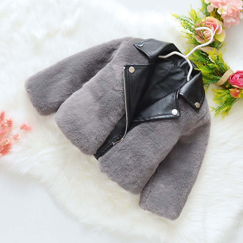 Girls Faux Fur Coat 2019 New Fluffy Winter Jackets Kids Fashion Patchwork Leather Jacket Cute Girl Winter Clothes 2-8Y Clothing