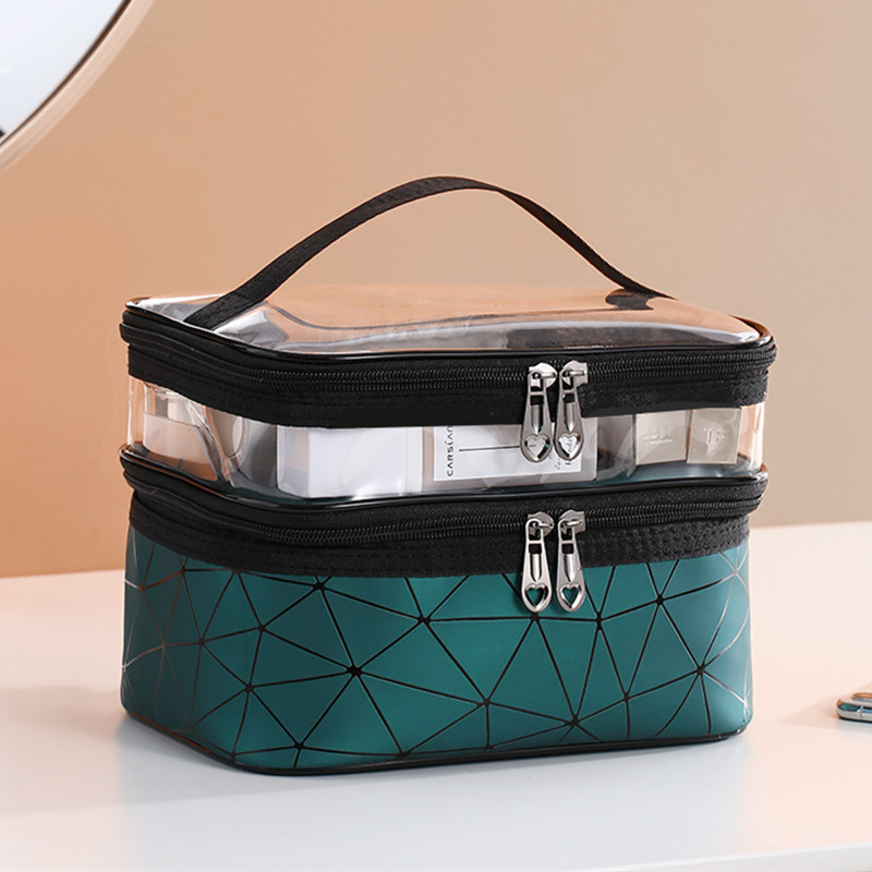 Women Double Layer Cosmetic Bag PU Make Up Organizer Bags Travel Waterproof Toiletry Storage Pouch Beautician Makeup Cases Box