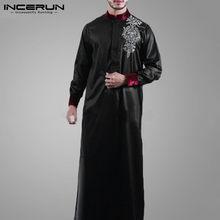 Vintage à manches longues Jubba Thobe INCERUN hommes Style saoudien imprimé Robes décontracté col montant arabe Dashiki Robes vêtements islamiques