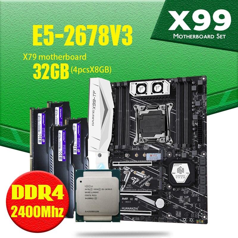 X99 TF motherboard DDR4 and DDR3 LGA2011-3 and LGA 2011 Intel Xeon E5 2678 V3 8GB X 4PCS = 32GB 2400MHz Memory Motherboard Set(China)