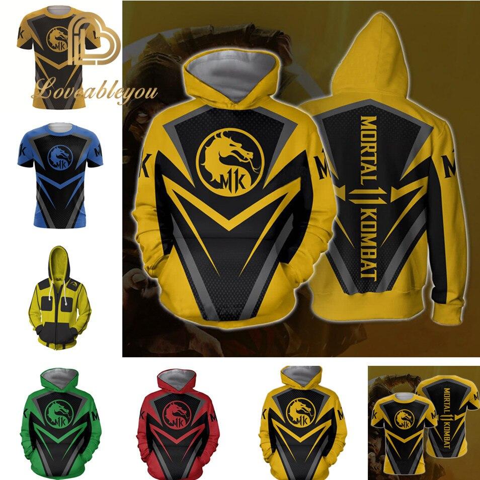 Mortal Kombat X Sub-Zero Scorpion T-shirt Cosplay Costume Men Women Zip-up Hoodies Sweatshirts Mortal Kombat Hoodies Jackets