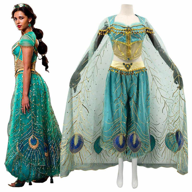 Girls Princess Jasmine Dress Up Aladdin Halloween Party Cosplay Costumes New