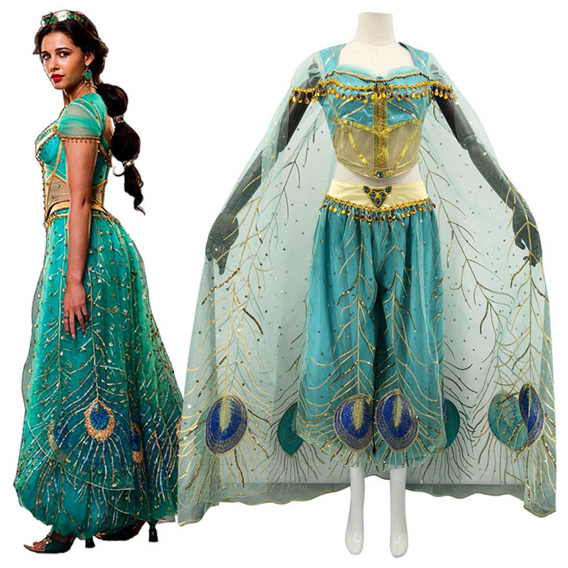 New Movie Aladdin Jasmine Princess Top Quality Embroidery Cosplay Costume For Adult Women Girls Wigs Halloween Party Costumes