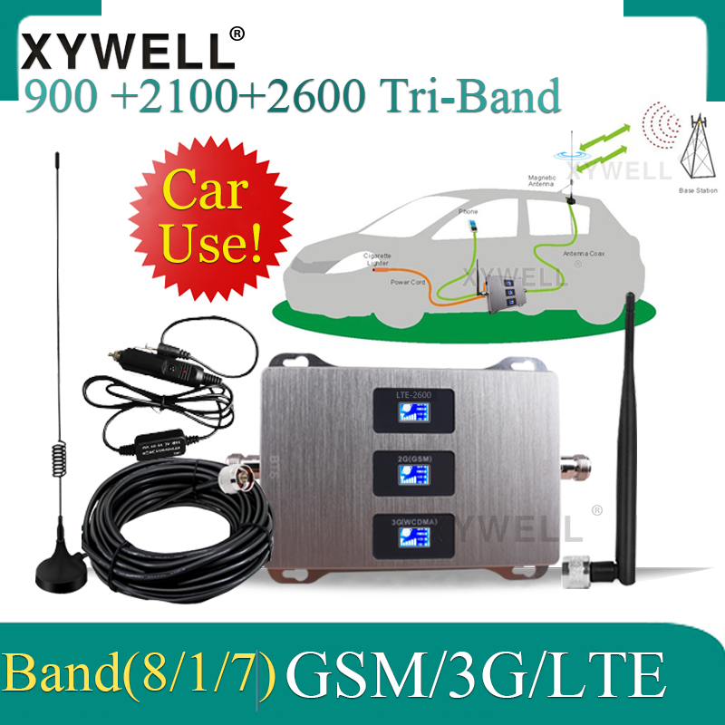 Car Use 900/2100/2600mhz Tri-Band Signal Booster 2G 3G 4G Mobile Cellular Amplifier GSM UMTS LTE 900 1800 2600 Signal Repeater