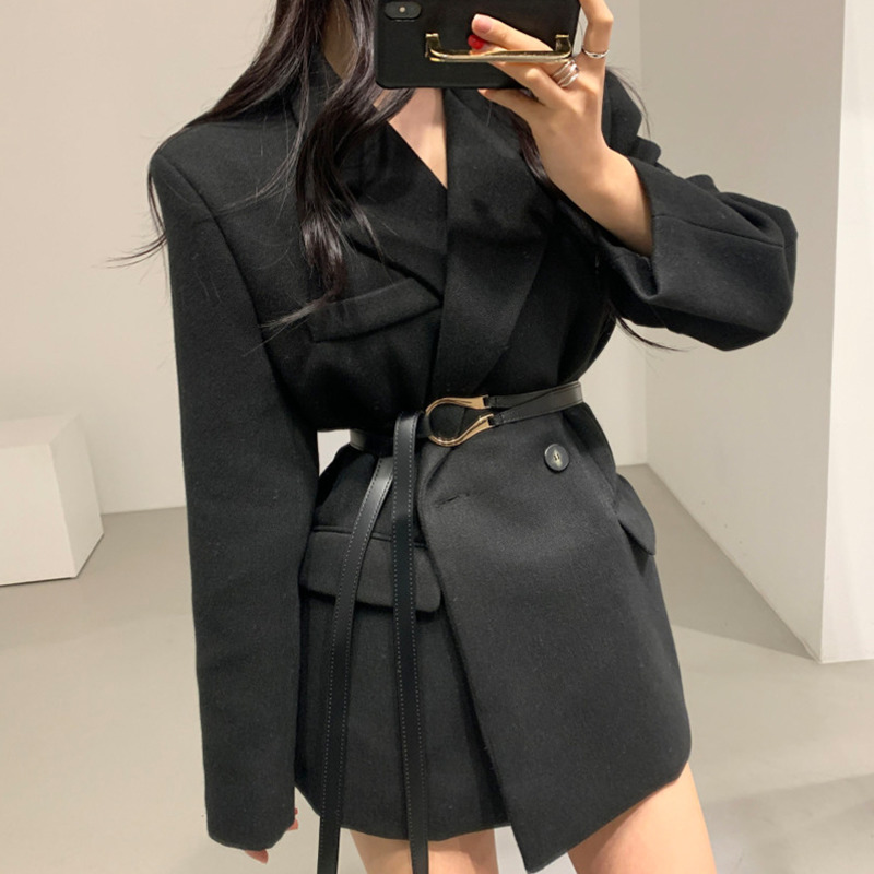2020 New Autumn Winter Women Blazer Office Lady Long Sleeve Blazers Jacket Female Loose Solid Casual Suit Coat Outwear With Belt