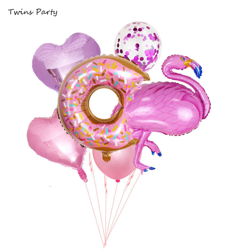 Twins Party Flamingo Donut Balloons Baby Shower Birthday Hawaiian Decoration Deco Kids Baloons