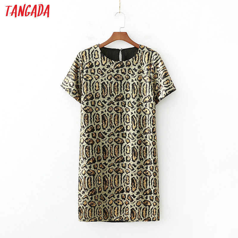 Tangada Women Leopard Sequined Dress For Party Short Sleeve O Neck Vintage Style Females Club Mini Dresses Vestidos 1D204