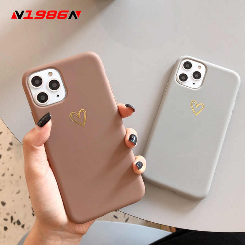 N1986N Phone Case For iPhone 11 Pro X XR XS Max 6 6s 7 8 Plus Fashion Cute Cartoon Gold Love Heart Soft TPU For iPhone 11 Cover