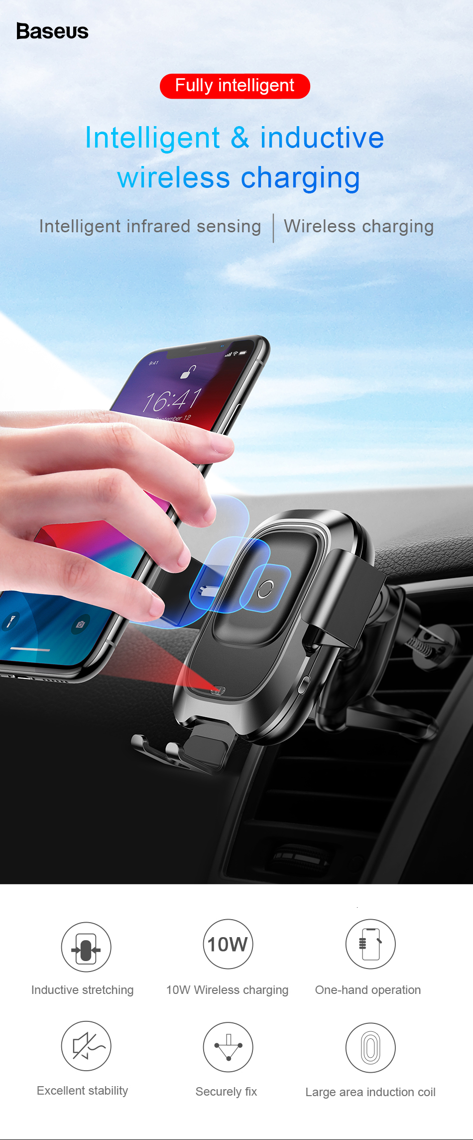 Baseus Qi Car Wireless Charger For iPhone Xs Max Xr X Samsung S10 S9 Intelligent Infrared Fast Wirless Charging Car Phone Holder 3