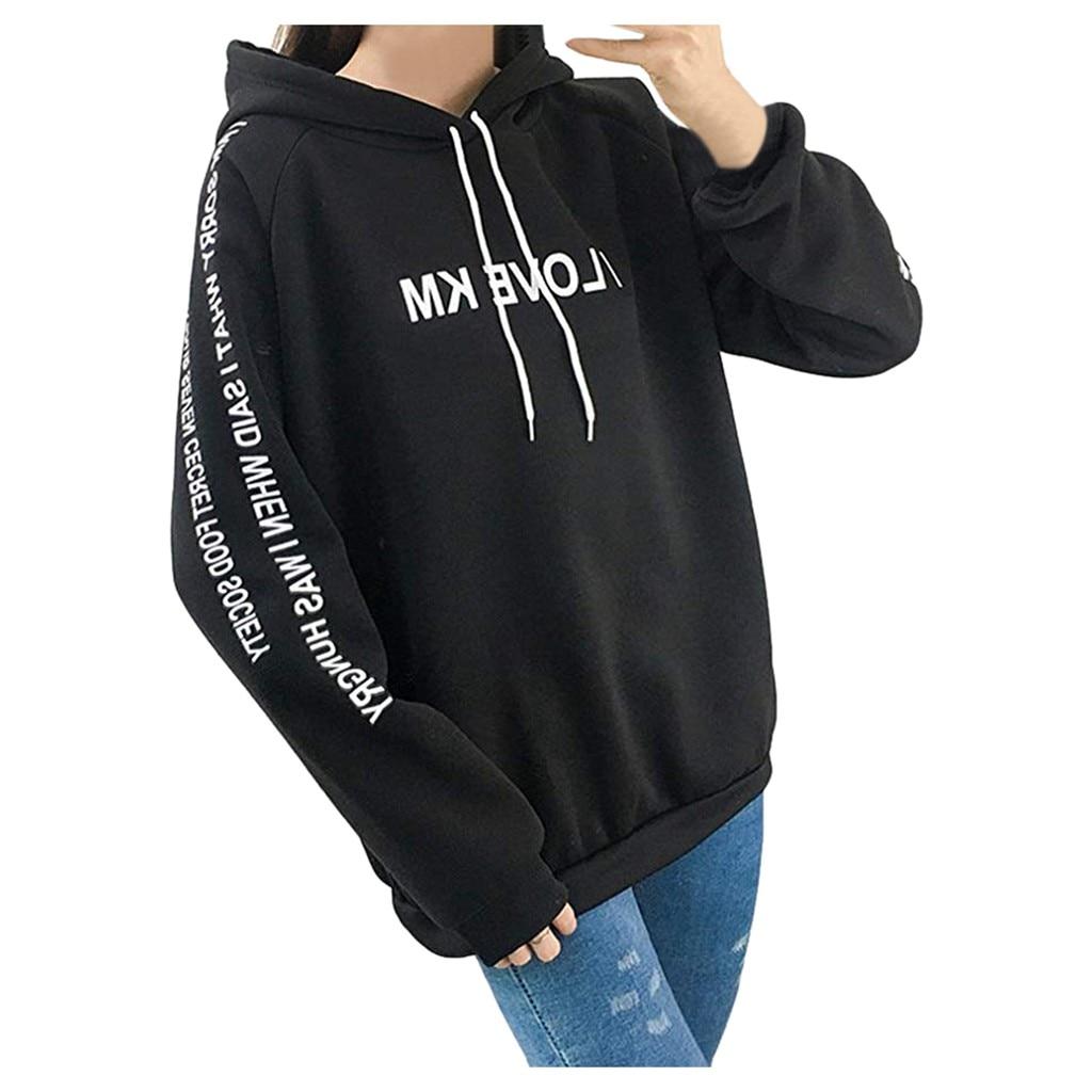 Korean Style Girls Drawstring Hooded Sweatshirts Women Casual Full Sleeve Letter Print Hooded Pullover Loose Thickened Hoodies